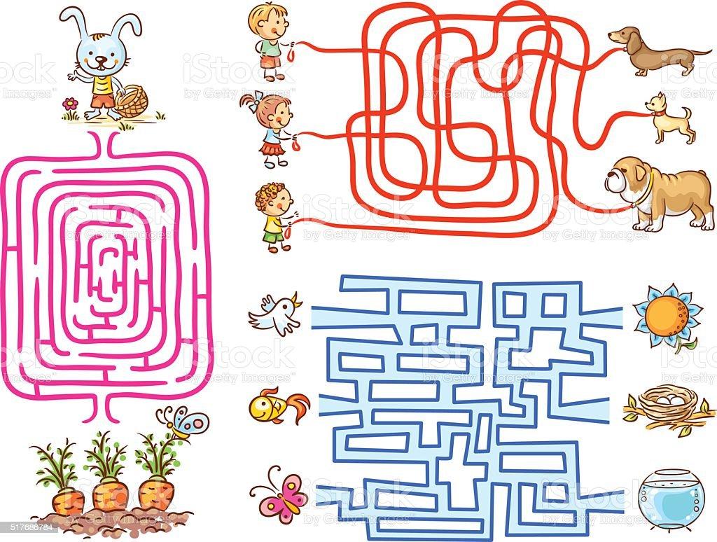 Labyrinth games set for preschoolers vector art illustration