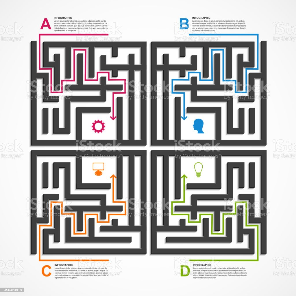 Labyrinth Infographic Concept Design Template stock vector art ...