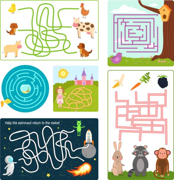 labyrinth labyrinth rätsel form rebus logik spiel suche rätsel lustige rätsel für kinder-vektor-illustration - labyrinthgarten stock-grafiken, -clipart, -cartoons und -symbole