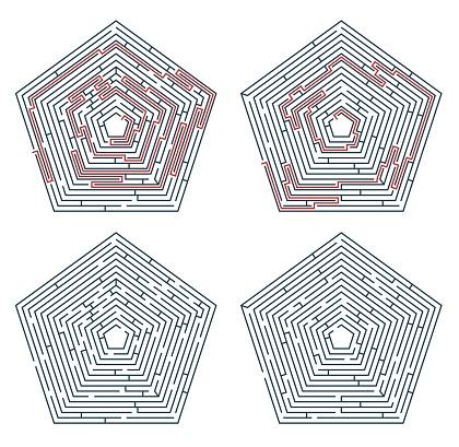 Labyrinth maze game, way path exit, escape puzzle
