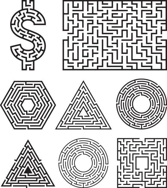 Labyrinth Labyrinth-Labyrinth Symbolform Vektorillustration. – Vektorgrafik
