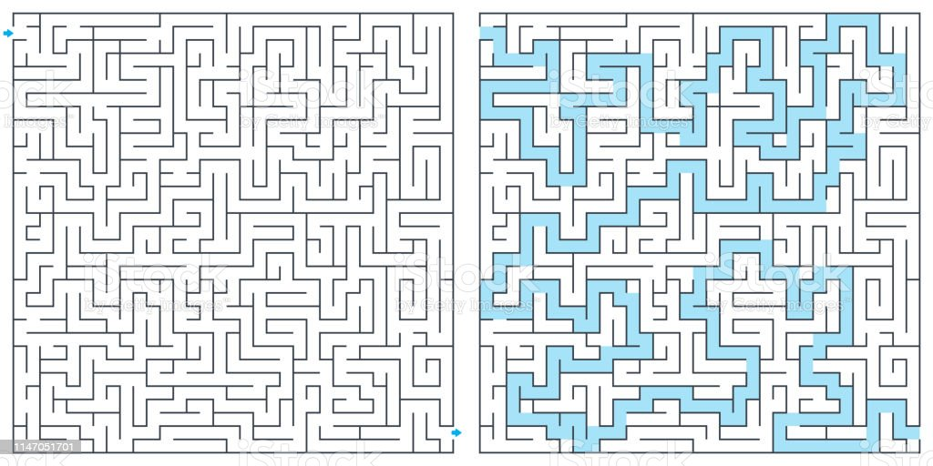 Labyrinth Maze With Solution Vector Illustration Square Maze High