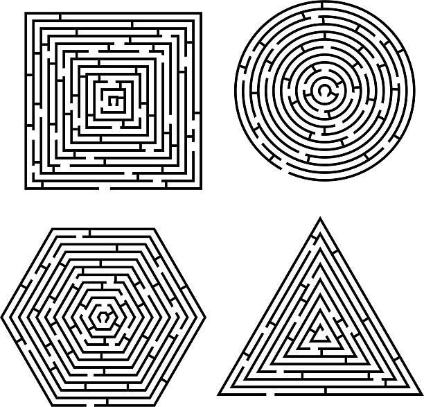 labyrinth-polygon - labyrinthgarten stock-grafiken, -clipart, -cartoons und -symbole