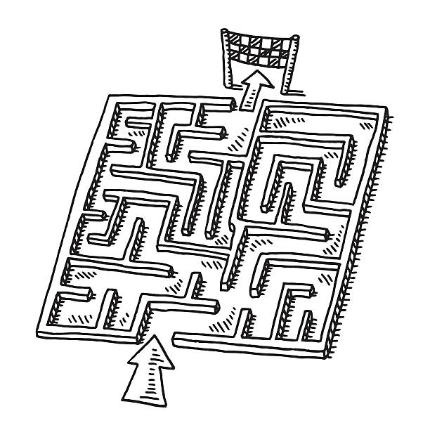 Labyrinth Puzzle Game Drawing Hand-drawn vector drawing of a Labyrinth Puzzle Game. Black-and-White sketch on a transparent background (.eps-file). Included files are EPS (v10) and Hi-Res JPG. game stock illustrations