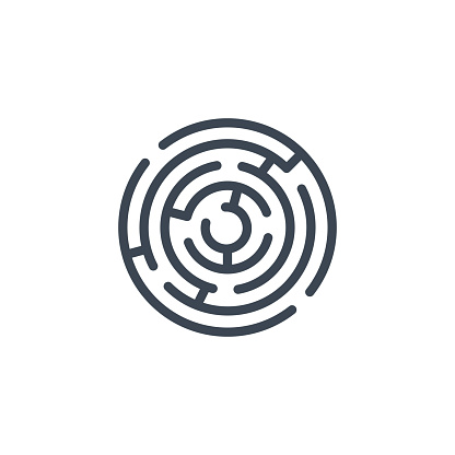 Labyrinth related vector glyph icon.