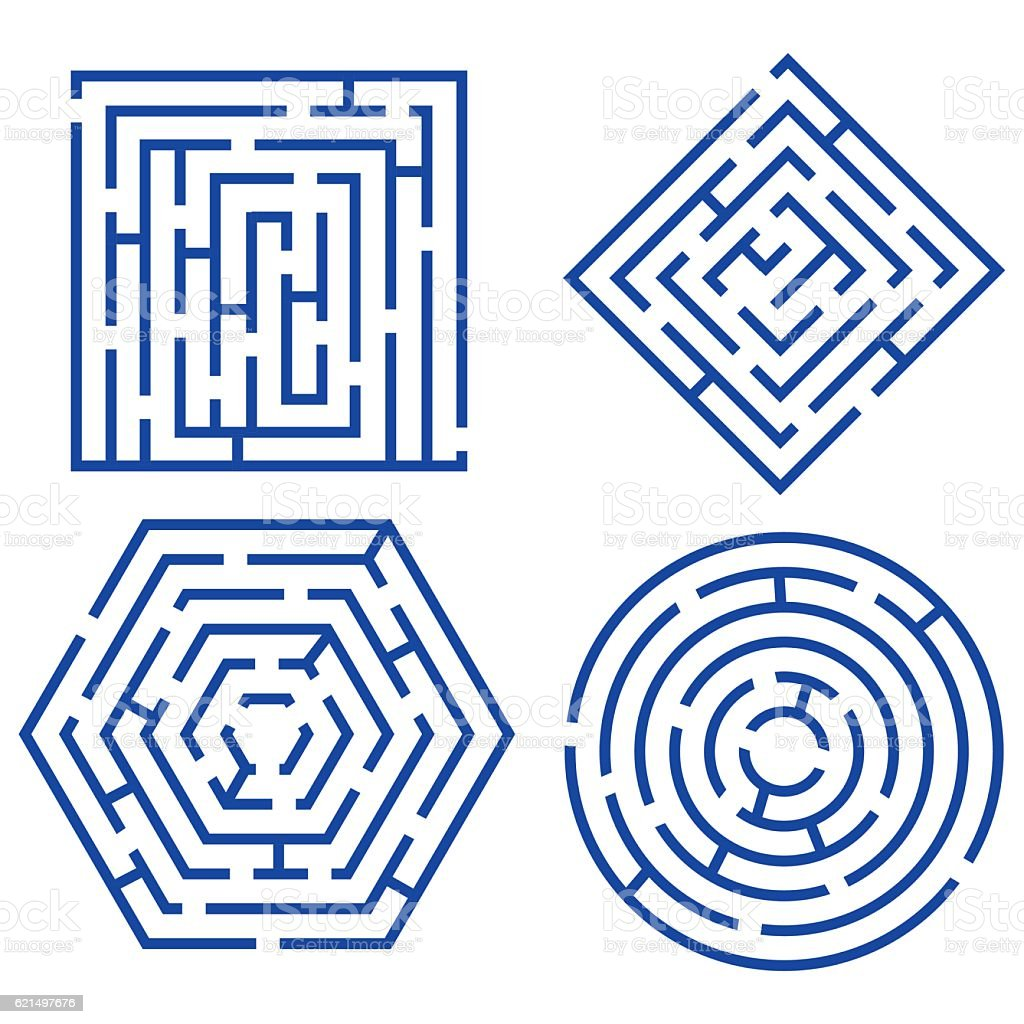 Labyrinth Set Different Shapes. Vector vector art illustration