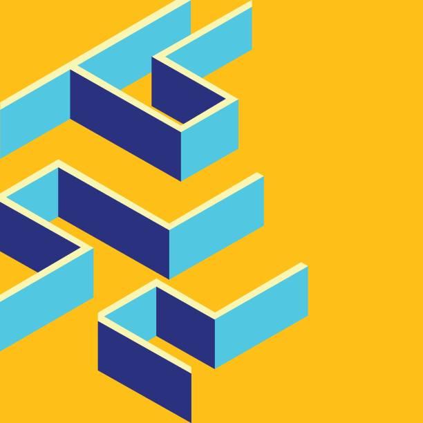 미로, 사각형 미로 아이콘입니다. 플랫 3d 스타일의 웹 디자인을 위한 아이소메트릭 템플릿입니다. - 미로찾기 stock illustrations