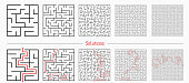 istock Labyrinth templates with solution in red. 1210046276