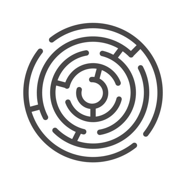 labyrinth dünne linie vektor icon - labyrinthgarten stock-grafiken, -clipart, -cartoons und -symbole
