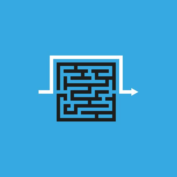 stockillustraties, clipart, cartoons en iconen met labyrint vector pictogram - complex