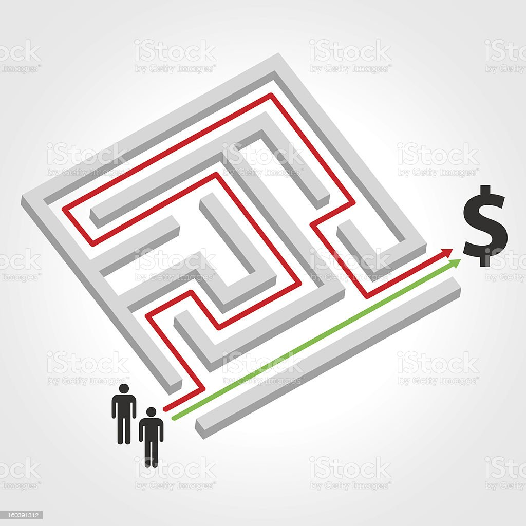Labyrinth with arrow, people and dollar symbol royalty-free stock vector art