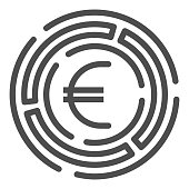 Labyrinth with euro coin line icon, Investment decisions concept, labyrinth chart sign on white background, maze with euro icon in outline style for mobile and web design. Vector graphics