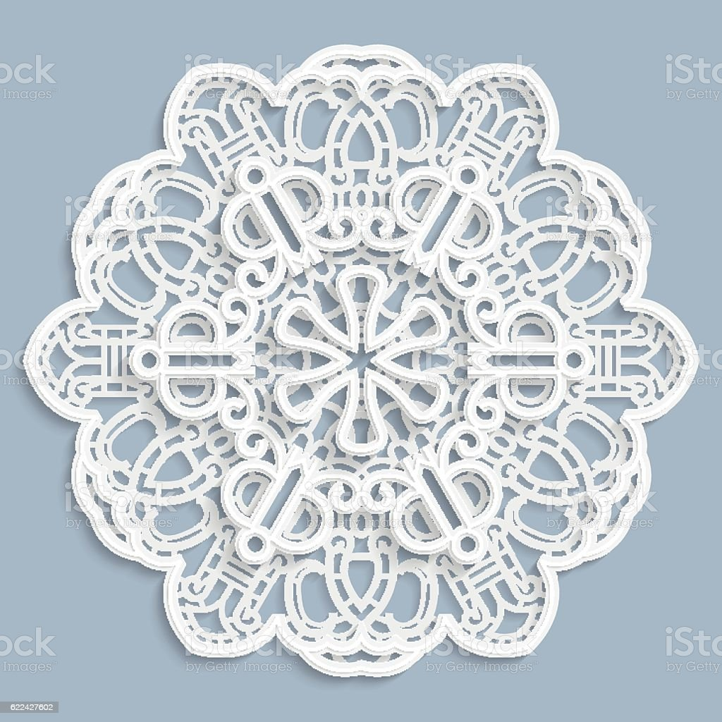 Lace 3d Mandala Round Symmetrical Openwork Pattern Stock Vector Art ...
