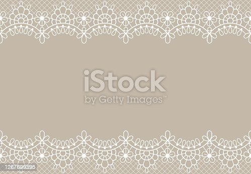 Lace background. Luxury floral lace borders ornate design element with place for text. Wedding, birthday or certificate vector texture. Decorative romantic element with details on beige