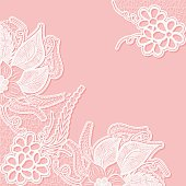 Lace background with space for text. Template wedding invitation or greeting card with an openwork pattern. Vector illustration.