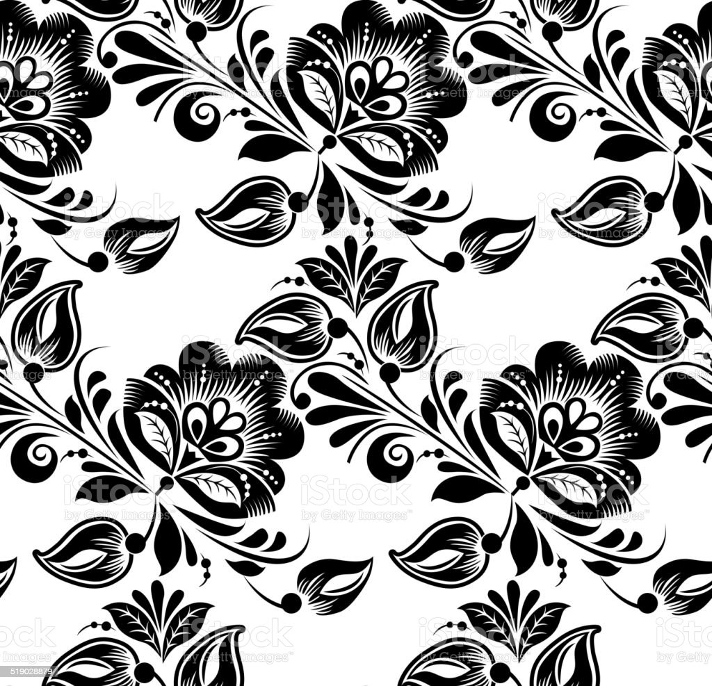 Black Flower Rose From Lace On White Background: Lace Black Seamless Pattern With Flowers On White