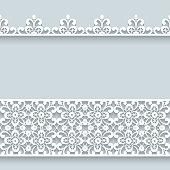 Lace border ornaments, cutout paper lines, elegant decoration for wedding invitation design