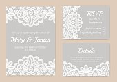 Templates of invitation lace cards for wedding