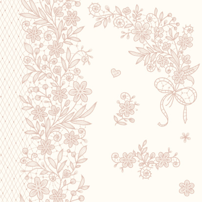 Lace Clip Art. Corner. Vertical Seamless Pattern.