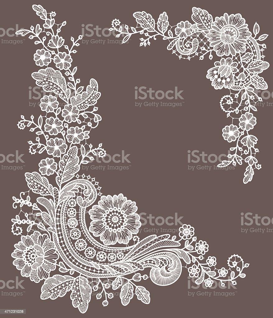 Lace Corners vector art illustration
