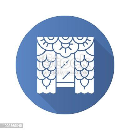 Cortinas de renda plana design longo ícone de glifo de sombra. Design de interiores da casa. Sala de estar, decoração de quarto. Tratamentos de janelas. Cortinas florais vintage, cortinas, cortinas. Ilustração da silhueta vetorial
