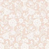 White lace design with floral motifs on a peach colored background. Vector seamless repeating pattern.