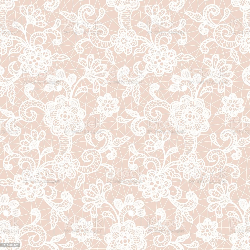 Lace Design with Floral Motifs vector art illustration