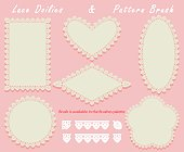 Lace Doilies of different shapes in a set with a pattern brush stroke. Napkins and openwork elements. Vector illustration