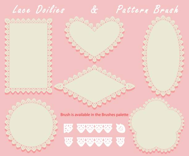 Lace Doilies of different shapes in a set with a pattern brush stroke. Napkins and openwork elements Lace Doilies of different shapes in a set with a pattern brush stroke. Napkins and openwork elements. Vector illustration cake borders stock illustrations