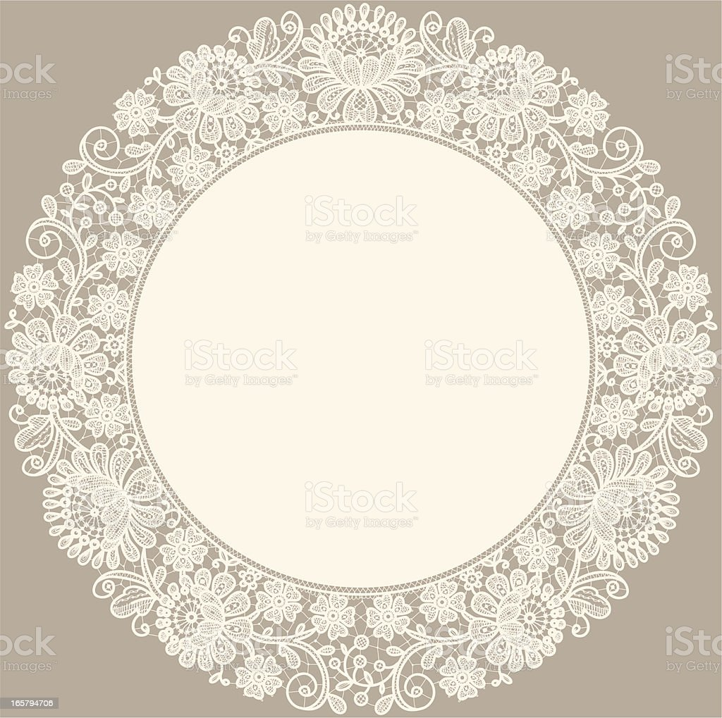 Lace. Doily. Circle Frame. royalty-free lace doily circle frame stock vector art & more images of backgrounds