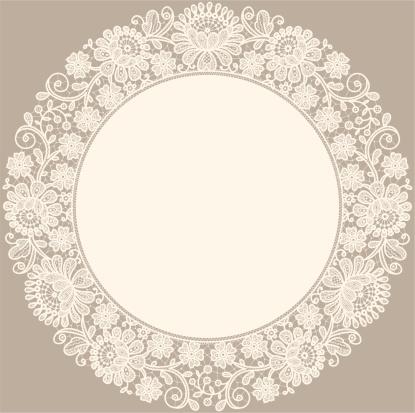 Lace. Doily. Circle Frame.
