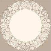 Lace. Doily. Circle Frame.