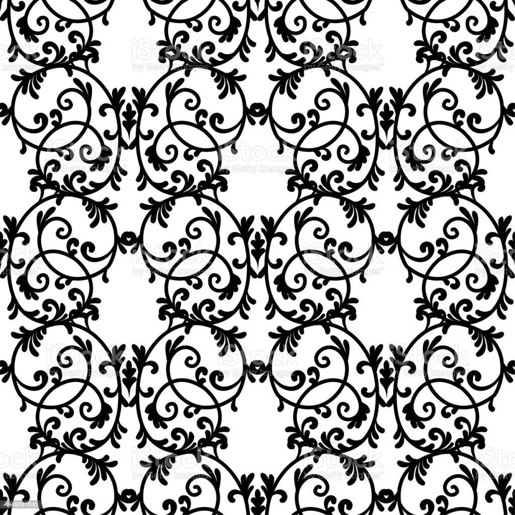 Dentelle Dessin dessin au trait élégant modèle vintage noir dentelle sur fond blanc