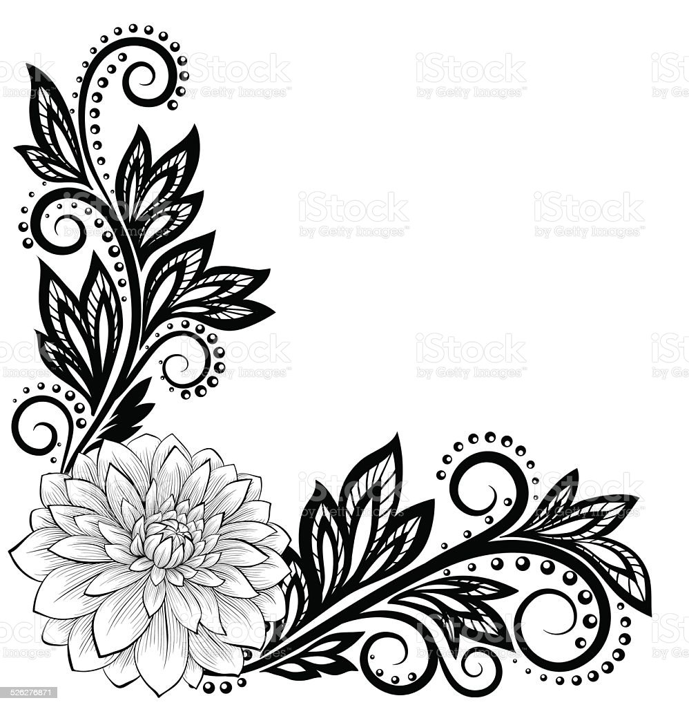lace flower in the corner. With space for text vector art illustration