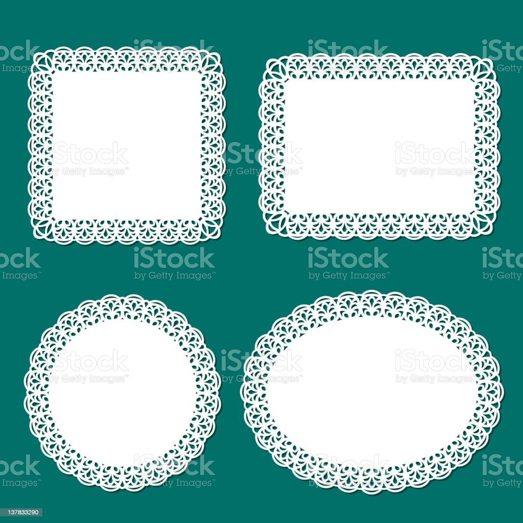 Lace frame and doliy vector art illustration
