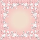 Lace frame. Template wedding invitation or greeting card. Vector illustration.