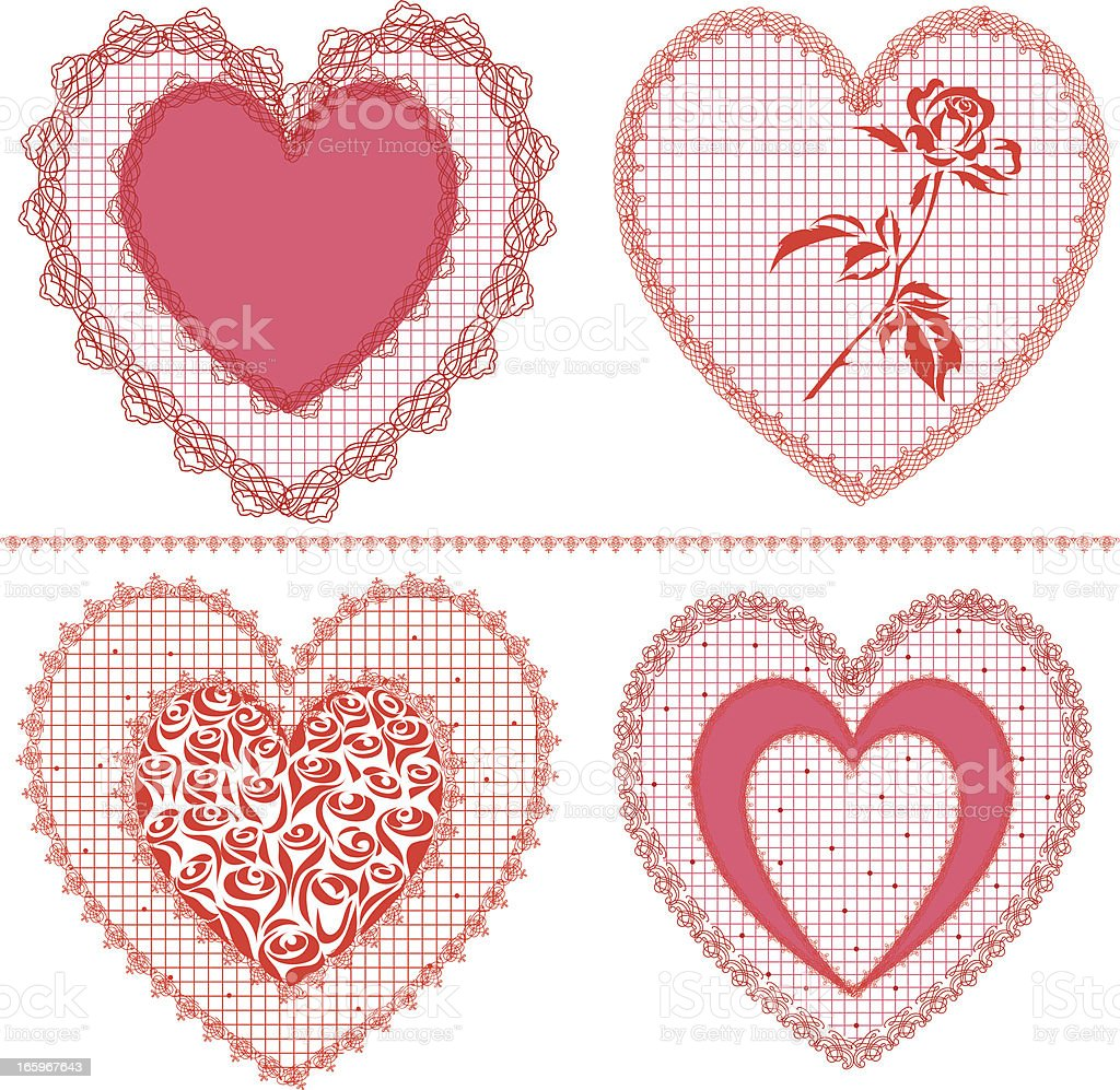 Lace hearts vector art illustration