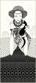 Lace monochrome queen with a black cat