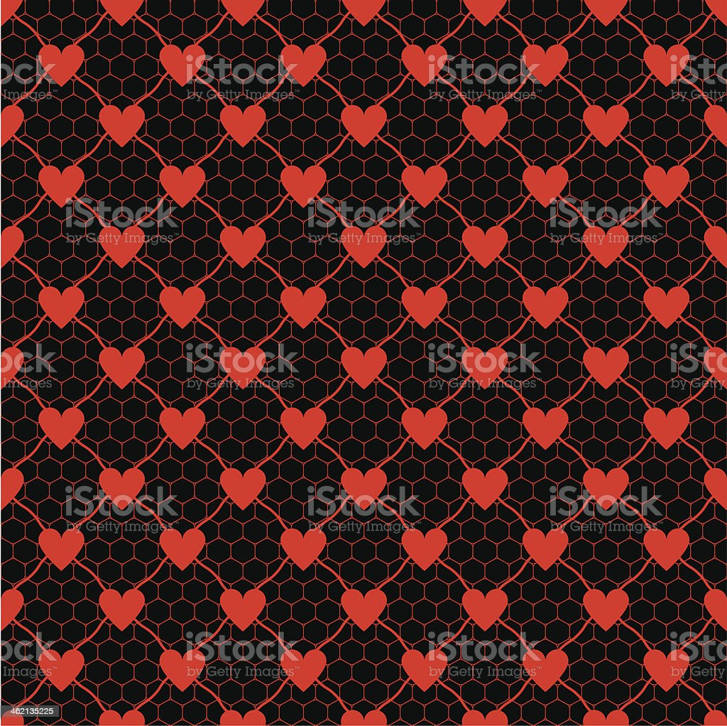 lace pattern with heart vector art illustration