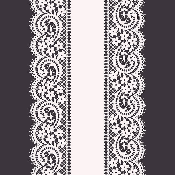 Lace Ribbon Seamless Pattern Vector Art Illustration