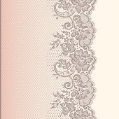 Lace ribbon. Vertical seamless pattern.
