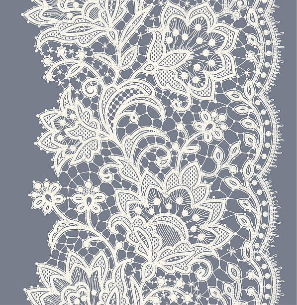lace ribbon vertical seamless pattern. - wedding backgrounds stock illustrations, clip art, cartoons, & icons