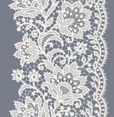 Lace Ribbon Vertical Seamless Pattern.