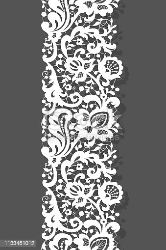 Vintage lace ribbon with floral ornament, white tulle border pattern on neutral background, elegant cutout decoration for wedding invitation card