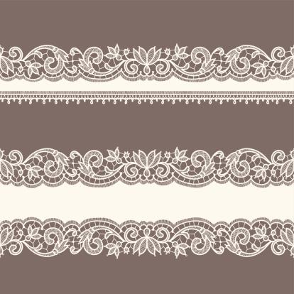 Lace Ribbons. Horizontal Seamless Patterns.