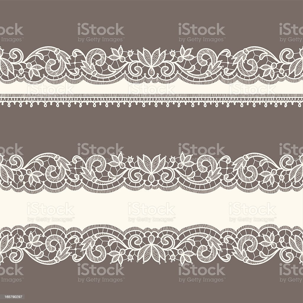 Lace Ribbons. Horizontal Seamless Patterns. vector art illustration