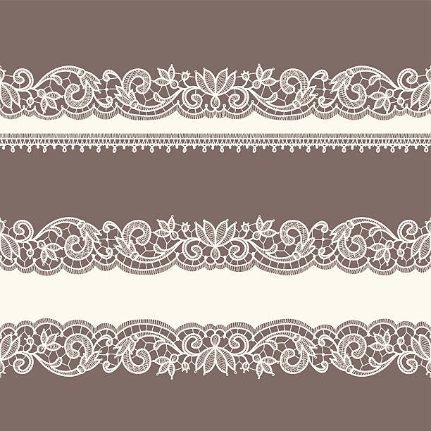 Lace Ribbons Horizontal Seamless Patterns Vector Art Illustration