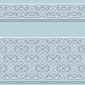 Lace ribbons, wide and narrow border patterns in the same style. Ornamental lacy decoration for greeting card or wedding invitation design