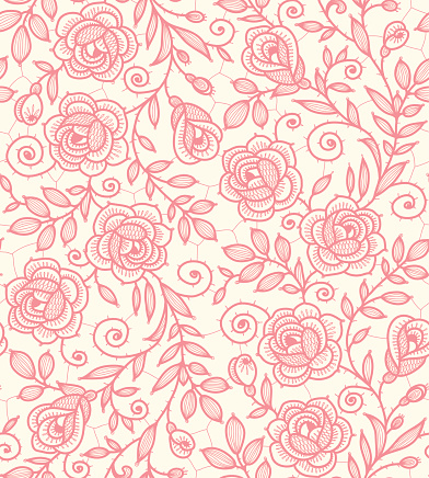 Lace Roses Seamless Pattern.