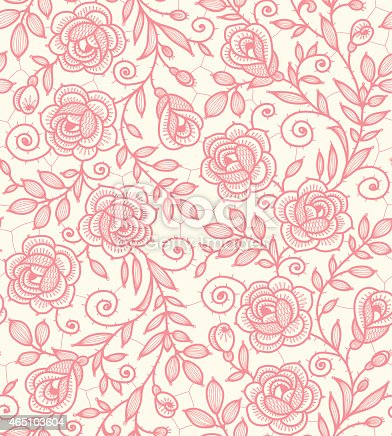 istock Lace Roses Seamless Pattern. 465103604